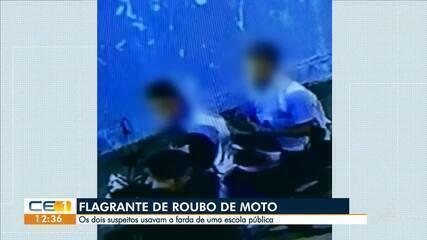 Assaltantes usando farda de escola roubam moto