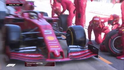 Vettel vai para os boxes e tem pequeno problema na troca