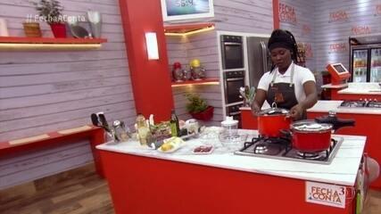 Chefs preparam seus pratos para a prova do 'Fecha a Conta Arroz'
