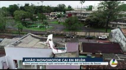 Avião de pequeno porte cai sobre residência e deixa um morto em Belém