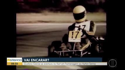'Vai Encarar?': Gustavo Garcia se aventura no Kart em homenagem a Ayrton Senna