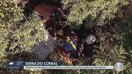 Bombeiros conseguem chegar até homem que caiu na Serra do Curral enquanto fazia slackline