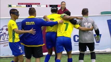 Os gols de Brasil 5 x 0 Peru pela Copa América de Futebol de 5