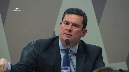 Sérgio Moro fala em comissão do Senado sobre mensagens divulgadas por site
