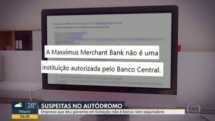 Empresa que deu garantia em licitação de autódromo não é autorizada pelo Banco Central