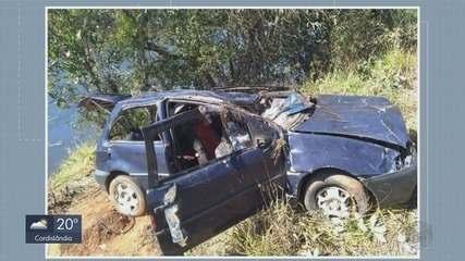 Carro cai em açude e três pessoas morrem entre Muzambinho e Nova Resende, MG