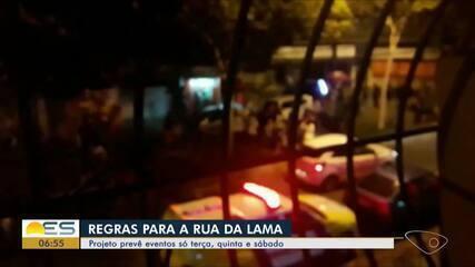 Projeto prevê eventos só terça, quinta e sábado na Rua da Lama, em Vitória