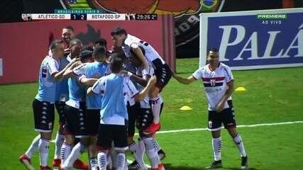 Os gols de Atlético-GO 1x2 Botafogo-SP pela Série B
