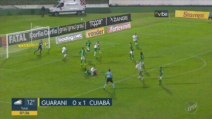 Guarani perde para o Cuiabá por 1x0 no Brinco de Ouro