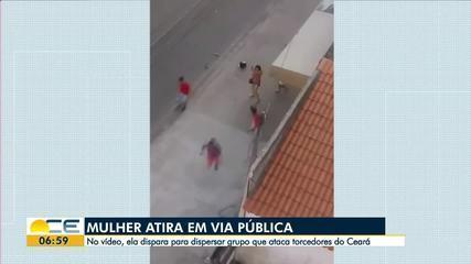 Vídeo mostra mulher atirando pra cima pra dispersar torcedores