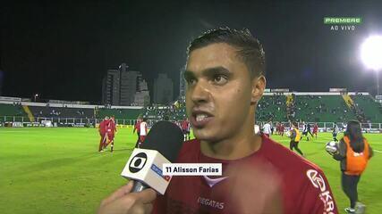 Alisson Farias, do CRB, fala da atuação do CRB contra o Figueirense