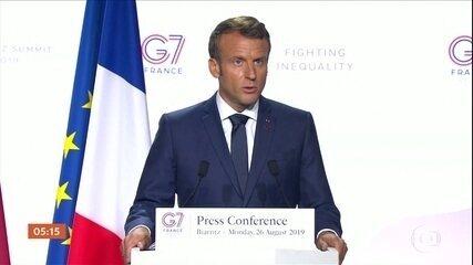 Presidente da França não poupa críticas ao presidente Jair Bolsonaro durante o G7