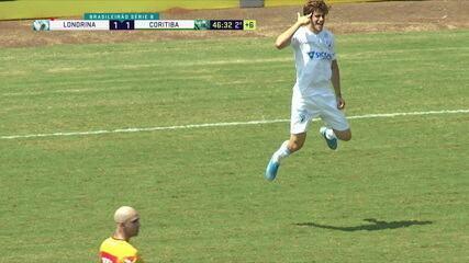 Gol do Londrina! Zaga chuta a bola para frente, Thalisson Kelven falha feio e Léo Passos marca, aos 46 do 2º