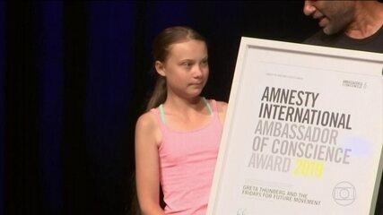 Ativista Greta Thunberg recebe prêmio da Anistia Internacional em Washington
