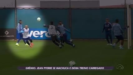 Jean Pyerre se machuca e deixa treino do Grêmio carregado