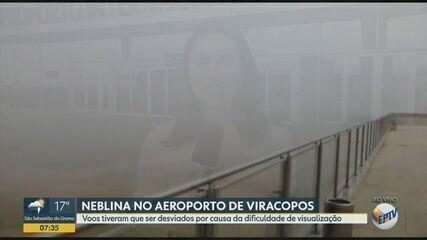 Campinas amanhece com neblina e voos no Aeroporto de Viracopos são desviados