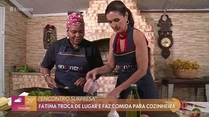Fátima Bernardes homenageia cozinheira baiana no 'Encontro Supresa'