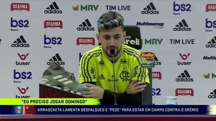 "Arrascaeta lamenta desfalque e""pede""para jogar contra o Grêmio"