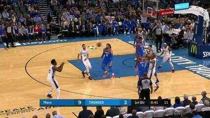 Melhores momentos: Oklahoma City Thunder 127 X 119 Philadelphia 76ers, pela NBA