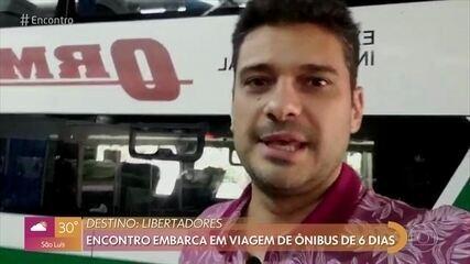 André Curvello mostra início de viagem de ônibus até Lima