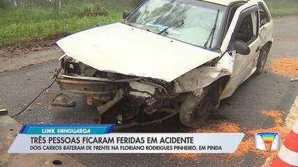 Três ficam feridos em acidente na Floriano Rodrigues Pinheiro em Pinda