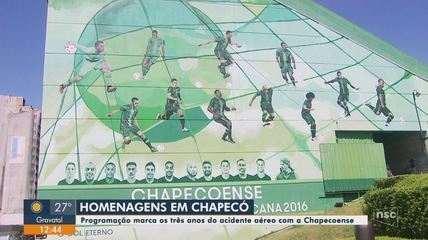 Programação marca os 3 anos da tragédia com a delegação da Chapecoense