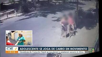 Adolescente se joga de carro em movimento no Conjunto Ceará