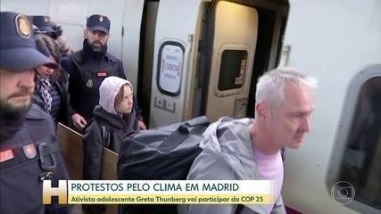 Ativista Greta Thunberg chega à Madrid, sede da COP 25