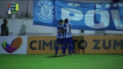 No gol do CSA, um buraco zagueiro quase complicou a jogada de Rafael Bilu