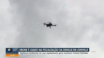 Drone é usado na fiscalização de dengue em Joinville