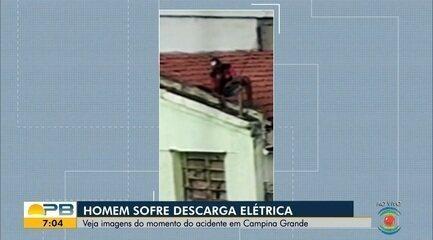Homem fica ferido após sofrer descarga elétrica no telhado de casa, em Campina Grande