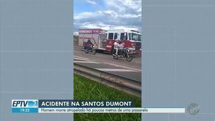 Homem morre atropelado ao tentar atravessar Rodovia Santos Dumont em Campinas