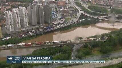 Chuva na capital causa prejuízo para empresas e trabalhadores da região de Campinas
