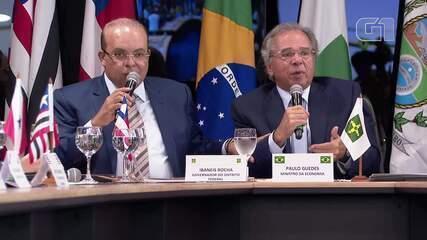 Governador Ibaneis e ministro Paulo Guedes discutem em Fórum de Governadores