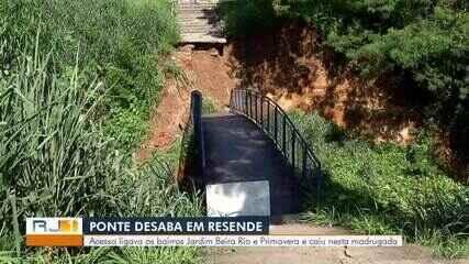 Cai ponte que liga bairros Jardim Beira Rio e Primavera, em Resende