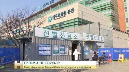 Número de casos do novo coronavírus dispara na Coreia do Sul e governo declara emergência