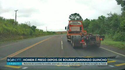 PRF encontra motorista amarrado em milharal após caminhão ser roubado