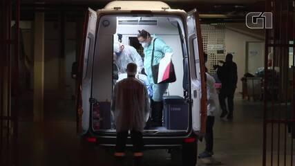 Primeira paciente que testou positivo para coronavírus no DF chega ao HRAN, em imagens de 6 de março