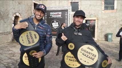 Ex-BBB Lucas Chumbo e Ian Cosenza vencem desafio Gigantes de Nazaré