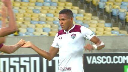 Gol do Fluminense! Caio Paulista finaliza de esquerda, a bola bate na trave e sobra para Pacheco marcar, aos 42 do 2º tempo