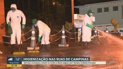 Prefeitura faz higienização de ruas e calçadas de Campinas