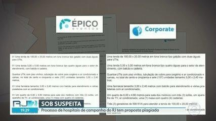 Processo de hospitais de campanha do RJ tem proposta plagiada
