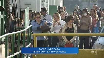 Moradores tem passe livre para o ferry boat em Navegantes