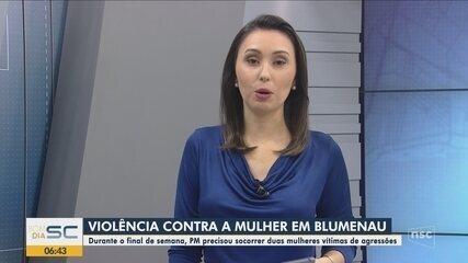 PM socorre duas mulheres vítimas de agressões em Blumenau