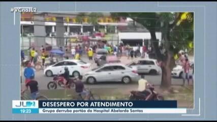 Desesperada, população força a entrada do Hospital Abelardo Santos em busca de socorro