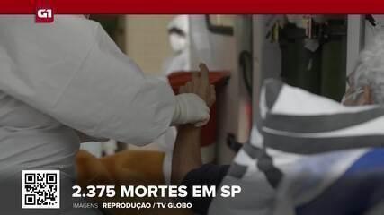G1 em 1 Minuto: SP registra 2.375 mortes por coronavírus e casos sobem 10% em 24 horas