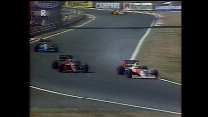 Senna faz ultrapassagem sobre Mansell no GP da Hungria de 1990