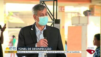 Prefeitura da Serra, ES, instala túnel de desinfecção no Terminal de Carapina