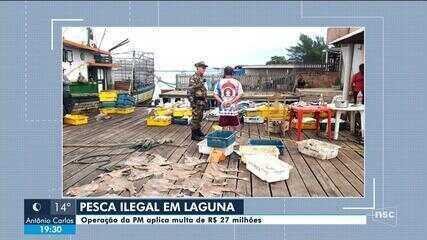 Operação da PM Ambiental aplica multa no combate à pesca ilegal em Laguna