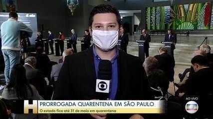 Coronavírus: Governo de SP prorroga quarentena até 31 de maio